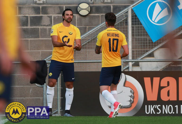 Torquay Utd's Ruairi Keating makes way for Torquay Utd's Rory Fallon during the pre season friendly match between Torquay United and Plymouth Argyle on Tuesday 18th July 2017 at Plainmoor, Devon - Photo: Dave Rowntree/PPAUK