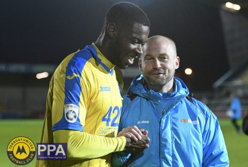 Nathan Blissett of Torquay United with his manager Kevin Nicholson Manager of Torquay United    during the  Vanarama National League Match between Torquay United v Forest Green Rovers at Plainmoor on 26th December 2016 in Torquay Devon - Photo mandatory by-line: Sean Hernon/Pinnacle - Tel: +44(0)1363 881025 - VAT Reg: 183700120 - Mobile:0797 1270 681- SPORT - Football -Torquay, Devon